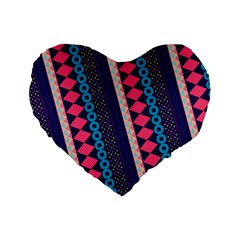Purple And Pink Retro Geometric Pattern Standard 16  Premium Flano Heart Shape Cushions