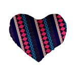 Purple And Pink Retro Geometric Pattern Standard 16  Premium Flano Heart Shape Cushions Front