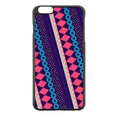 Purple And Pink Retro Geometric Pattern Apple iPhone 6 Plus/6S Plus Black Enamel Case