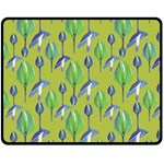 Tropical Floral Pattern Double Sided Fleece Blanket (Medium)