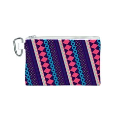 Purple And Pink Retro Geometric Pattern Canvas Cosmetic Bag (s) by DanaeStudio