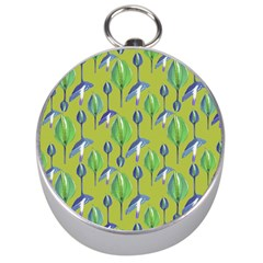 Tropical Floral Pattern Silver Compasses