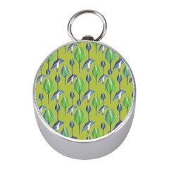 Tropical Floral Pattern Mini Silver Compasses