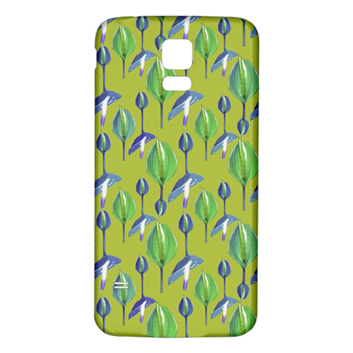 Tropical Floral Pattern Samsung Galaxy S5 Back Case (White)
