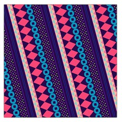 Purple And Pink Retro Geometric Pattern Large Satin Scarf (square)