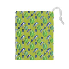 Tropical Floral Pattern Drawstring Pouches (Large)