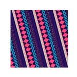Purple And Pink Retro Geometric Pattern Small Satin Scarf (Square)
