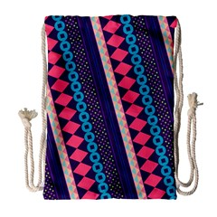 Purple And Pink Retro Geometric Pattern Drawstring Bag (large)