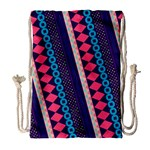 Purple And Pink Retro Geometric Pattern Drawstring Bag (Large) Front