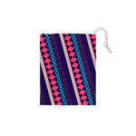 Purple And Pink Retro Geometric Pattern Drawstring Pouches (XS)  Front