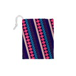 Purple And Pink Retro Geometric Pattern Drawstring Pouches (XS)  Back