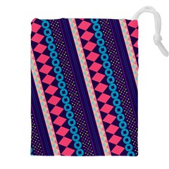 Purple And Pink Retro Geometric Pattern Drawstring Pouches (xxl) by DanaeStudio