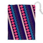Purple And Pink Retro Geometric Pattern Drawstring Pouches (XXL) Front