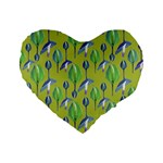 Tropical Floral Pattern Standard 16  Premium Flano Heart Shape Cushions