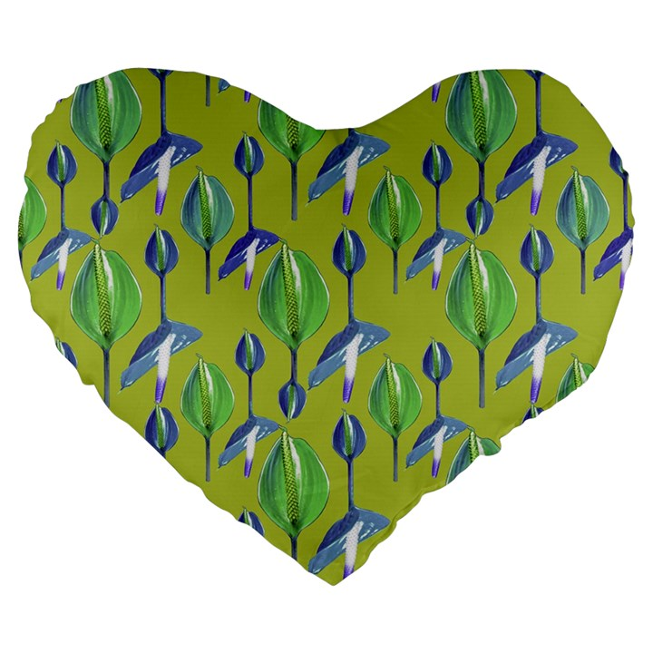 Tropical Floral Pattern Large 19  Premium Flano Heart Shape Cushions