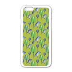 Tropical Floral Pattern Apple iPhone 6/6S White Enamel Case