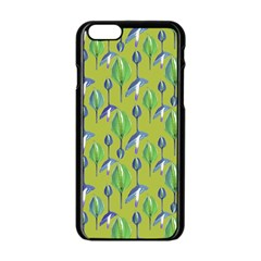 Tropical Floral Pattern Apple iPhone 6/6S Black Enamel Case