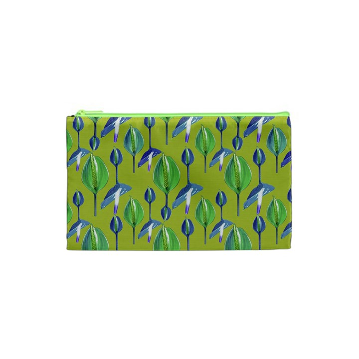 Tropical Floral Pattern Cosmetic Bag (XS)