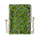 Tropical Floral Pattern Drawstring Bag (Small) Back