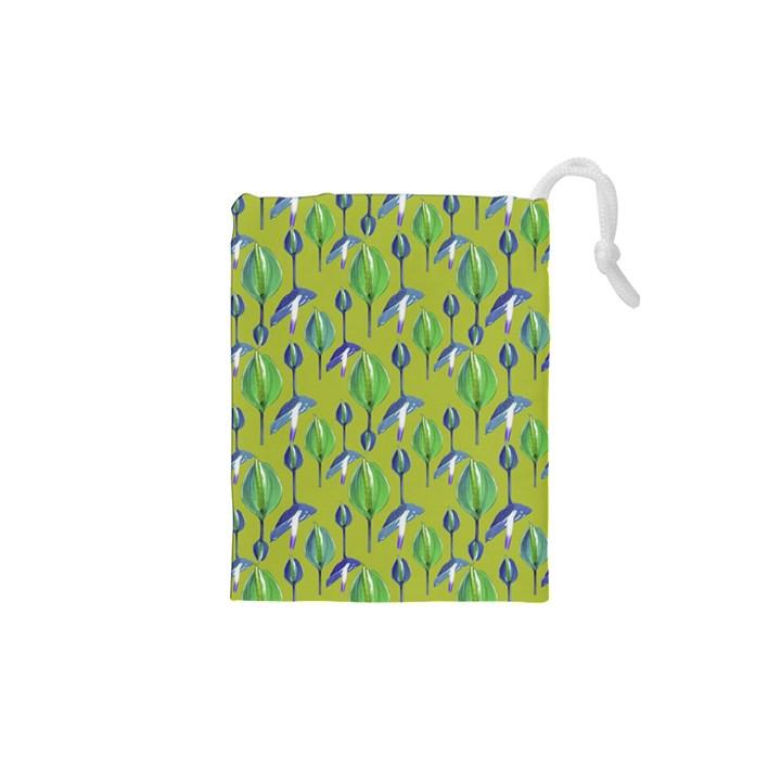 Tropical Floral Pattern Drawstring Pouches (XS)