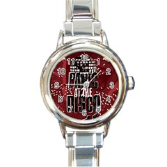 Panic At The Disco Poster Round Italian Charm Watch by Onesevenart