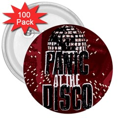Panic At The Disco Poster 3  Buttons (100 Pack)  by Onesevenart