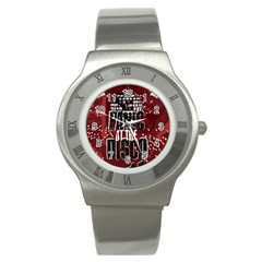 Panic At The Disco Poster Stainless Steel Watch by Onesevenart