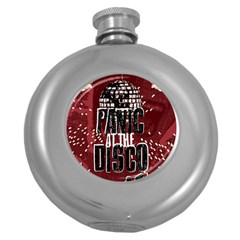 Panic At The Disco Poster Round Hip Flask (5 Oz) by Onesevenart