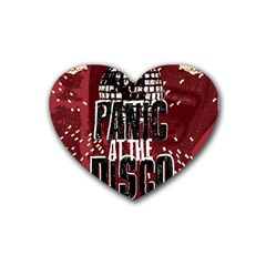 Panic At The Disco Poster Rubber Coaster (heart)  by Onesevenart