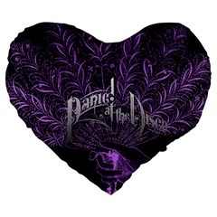 Panic At The Disco Large 19  Premium Heart Shape Cushions by Onesevenart