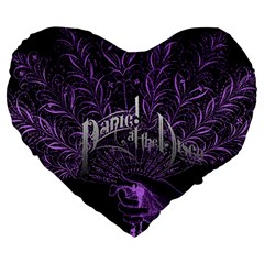 Panic At The Disco Large 19  Premium Flano Heart Shape Cushions by Onesevenart
