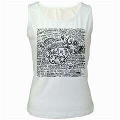 Panic! At The Disco Lyric Quotes Women s White Tank Top by Onesevenart
