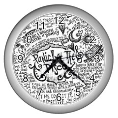 Panic! At The Disco Lyric Quotes Wall Clocks (silver)  by Onesevenart