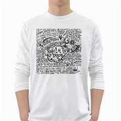 Panic! At The Disco Lyric Quotes White Long Sleeve T Shirts by Onesevenart