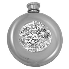 Panic! At The Disco Lyric Quotes Round Hip Flask (5 Oz) by Onesevenart