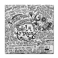 Panic! At The Disco Lyric Quotes Face Towel by Onesevenart