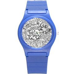 Panic! At The Disco Lyric Quotes Round Plastic Sport Watch (s) by Onesevenart