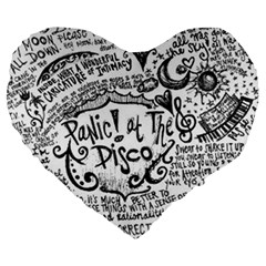 Panic! At The Disco Lyric Quotes Large 19  Premium Heart Shape Cushions by Onesevenart