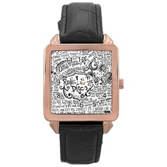 Panic! At The Disco Lyric Quotes Rose Gold Leather Watch  by Onesevenart