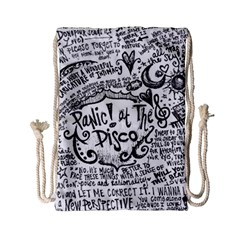 Panic! At The Disco Lyric Quotes Drawstring Bag (small) by Onesevenart