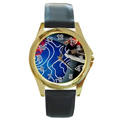 Panic! At The Disco Released Death Of A Bachelor Round Gold Metal Watch by Onesevenart
