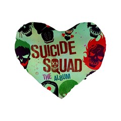 Panic! At The Disco Suicide Squad The Album Standard 16  Premium Flano Heart Shape Cushions by Onesevenart