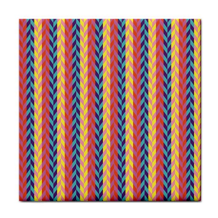 Colorful Chevron Retro Pattern Tile Coasters
