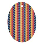 Colorful Chevron Retro Pattern Ornament (Oval)  Front