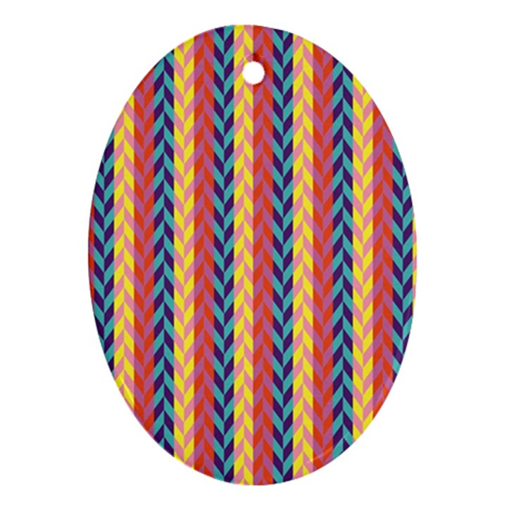 Colorful Chevron Retro Pattern Ornament (Oval)