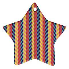 Colorful Chevron Retro Pattern Ornament (star)