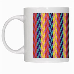 Colorful Chevron Retro Pattern White Mugs by DanaeStudio