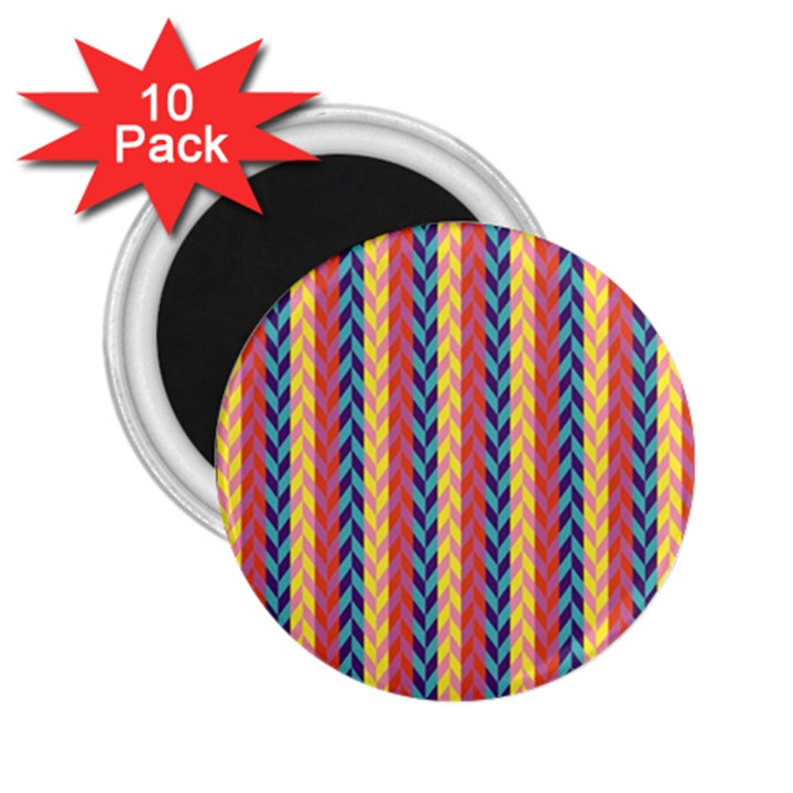 Colorful Chevron Retro Pattern 2.25  Magnets (10 pack)