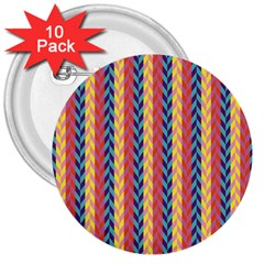 Colorful Chevron Retro Pattern 3  Buttons (10 Pack)