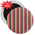 Colorful Chevron Retro Pattern 3  Magnets (10 pack)